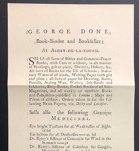 18th Century Bookseller Handbill Facsimile