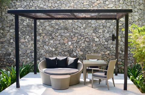 Beschattungsanlage Lounge Gartensitzplatz