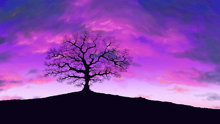 Longwell Massage Therapy tree with purple sky, LMT brand image