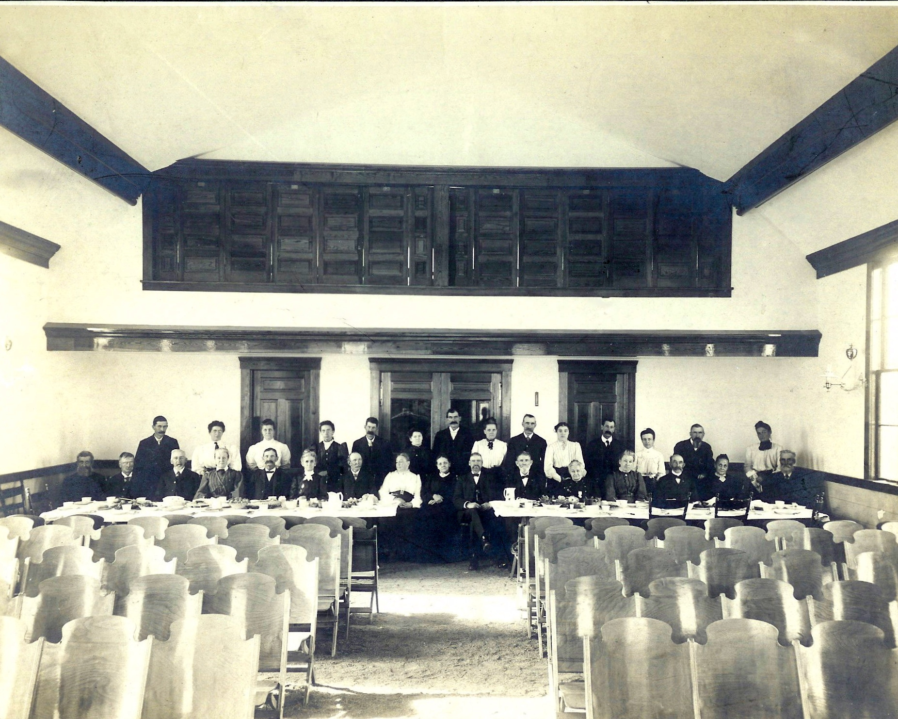 Interior with Saw Dust Floor During Grange Meeting 1908