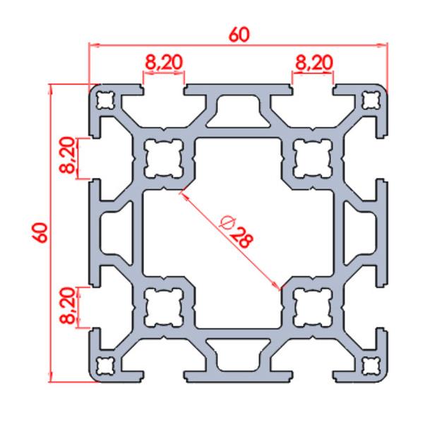 60x60 Sigma Profil Çift Kanallı ölçüleri