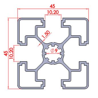 45x45 Süper Light Sigma Profil ölçüleri.