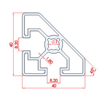 40x40 45° Dereceli Sigma Profil Ölçüleri