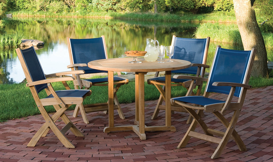 Kingsley Bate St Tropez Dining Arm Chairs and Dining Table
