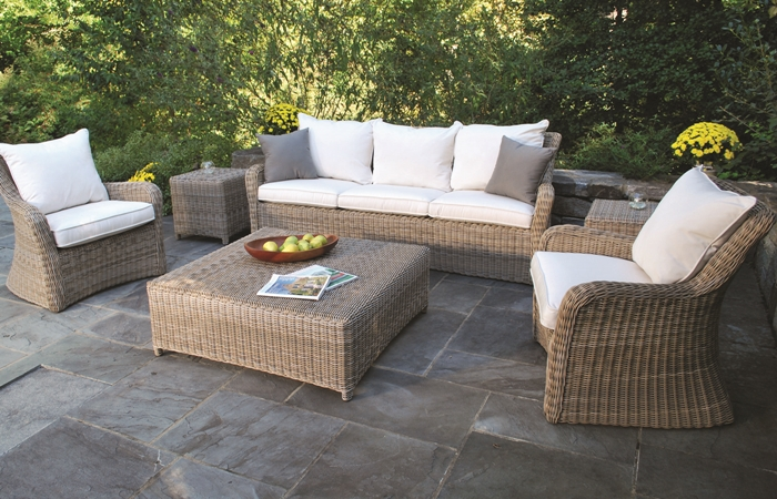 Kingsley Bate Sag Harbor Sofa and Lounge Chairs and Coffee Table