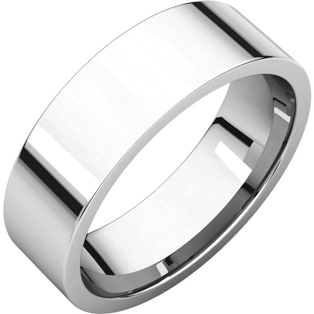 The classic Flat wedding Band in Sterling Silver