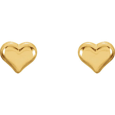 14k yellow puffed heart earring