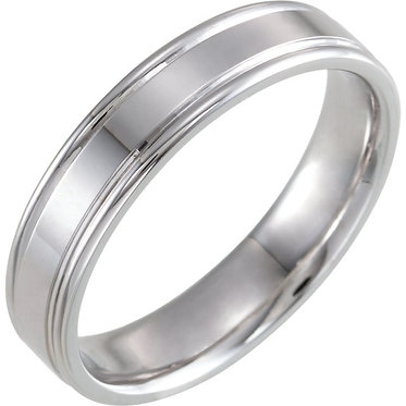 White grooved Wedding Band
