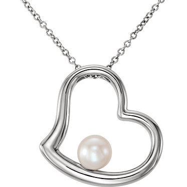 14k white gold pearl heart necklace