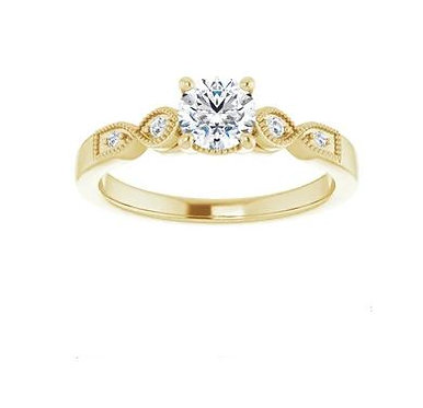 10k 5.2mm round engagement ring