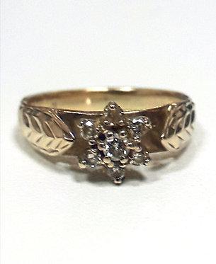 10k cluster diamond engagement ring
