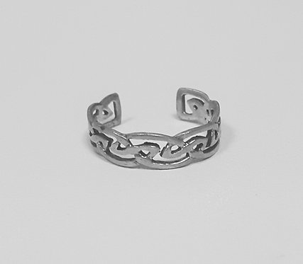 Patterned Silver Toe Ring