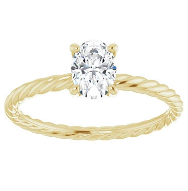 Rope Inspired Oval Solitaire Engagement Ring