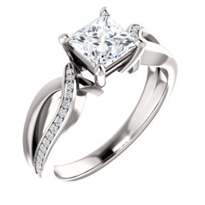 Square solitaire engagement ring