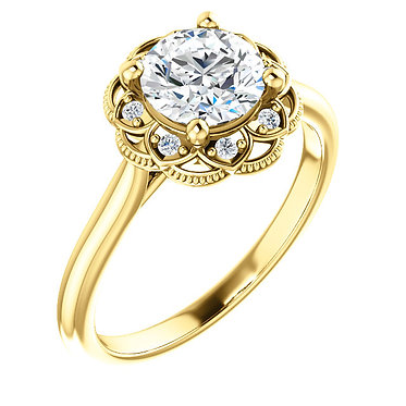 14k Halo Engagement Ring
