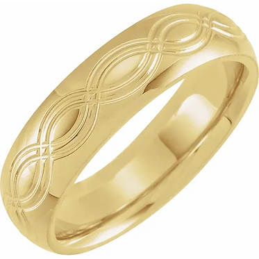 10k 6mm Infinity Patterned Ring