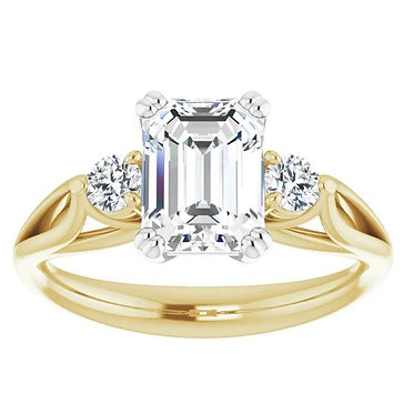 14k Emerald Cut Engagement ring