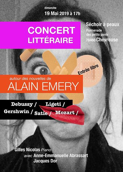 concert litteraire autour des nouvelles d'Alain Emery avec Anne-Emmanuelle Abrassart, Jacques Dor et Gilles Nicolas