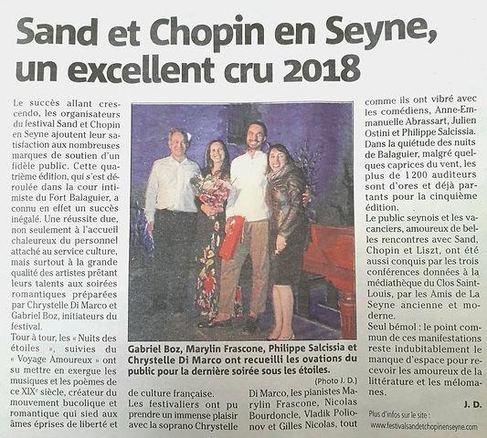 """""""le voyage amoureux"""" Festival Sand et Chopin en Seyne"""