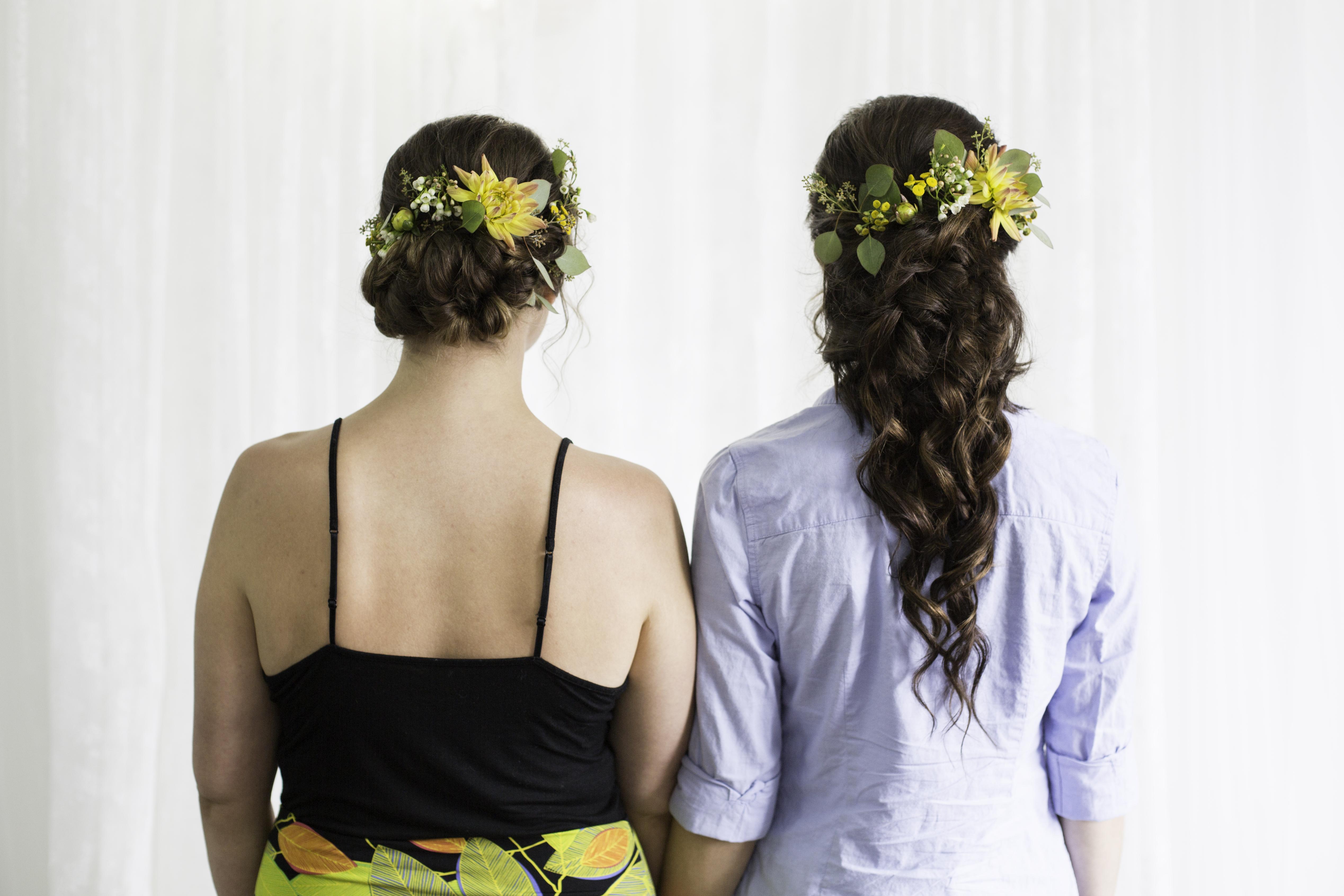 2 brides on their wedding day