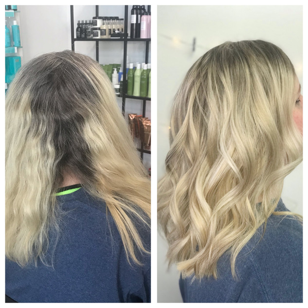 Blonde balayage with a brazilian Blowout