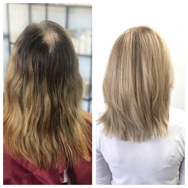 This client wants to stop coloring her grey.