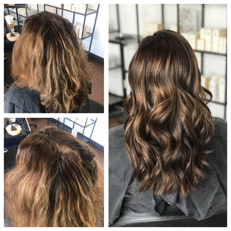 Darkening and removing red tones. Cut and color by Lacey
