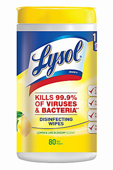 Lysol® Disinfecting Wipes, Lemon And Lime Blossom Scent