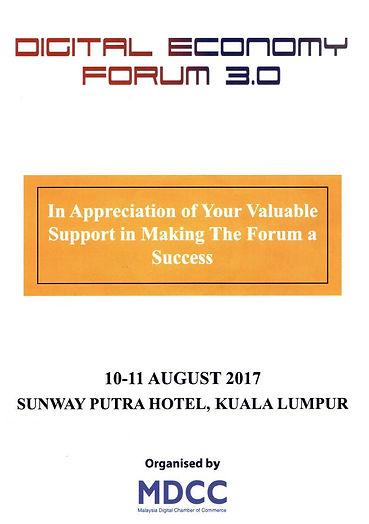 Digital Economy Forum 3.0 Appreciation Certificate