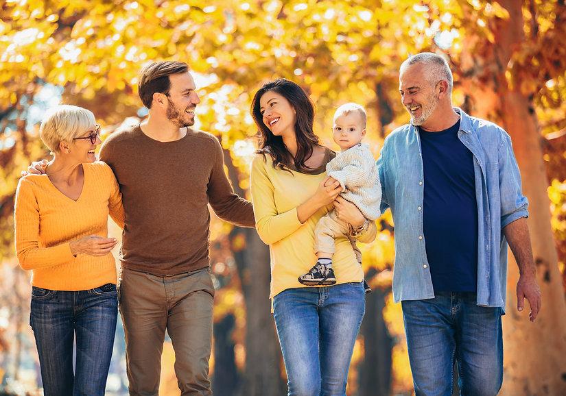 Multl generation family in autumn park h