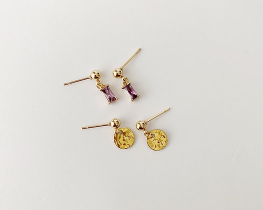 Light Amethyst double stud - Gold