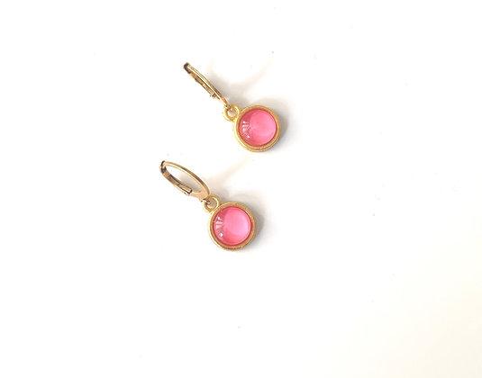 Pink Rose hooks - Gold