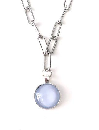 Powder blue Silver chunky links