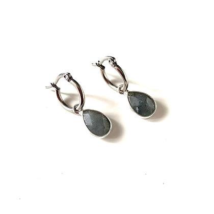 Labradorite hoops - Silver