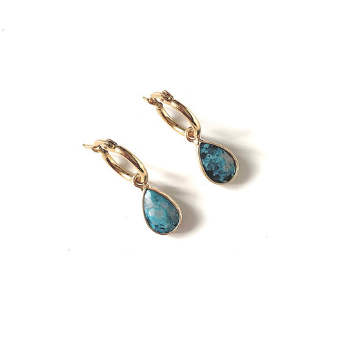 Turquoise hoops - Gold