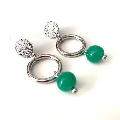 Jade green gemstone silver drop
