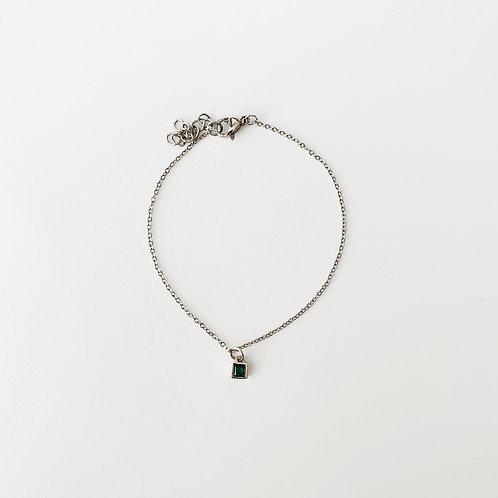 Emerald single bracelet - Silver