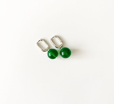 Green Jade small hoops