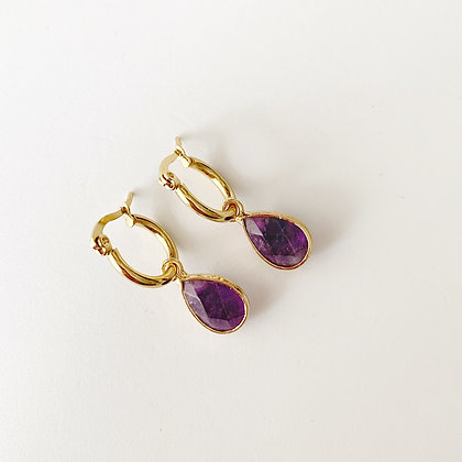 Amethyst  Hoops - Gold