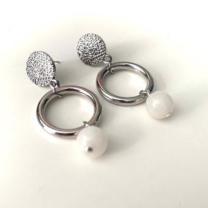 white Jade gemstone silver drop