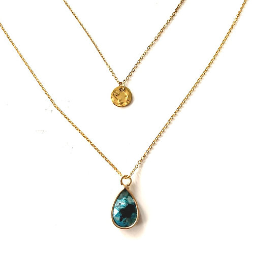 Turquoise Double layer - Gold
