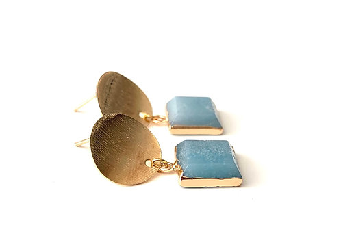 Amazonite drop studs - Gold