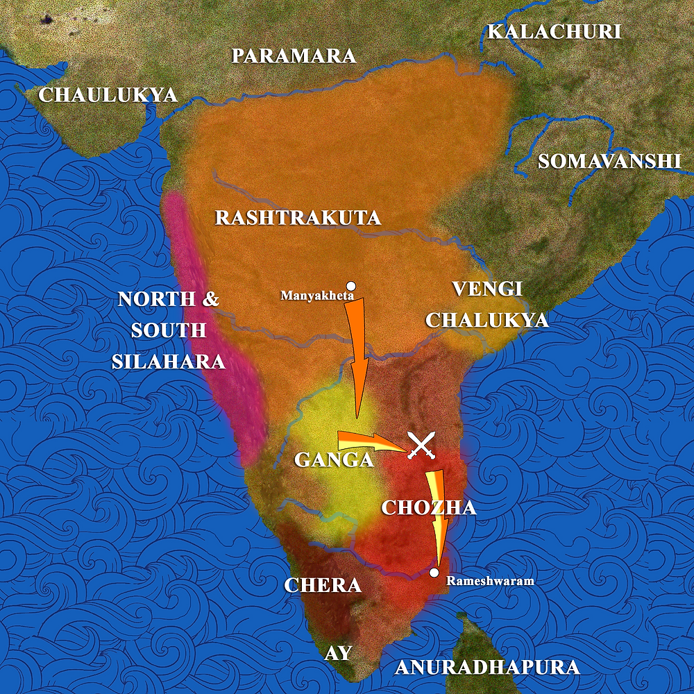 Map of Southern India in 949 CE, showing the Rashtrakuta empire and the Chola and Ganga kingdoms in the 10th century CE.