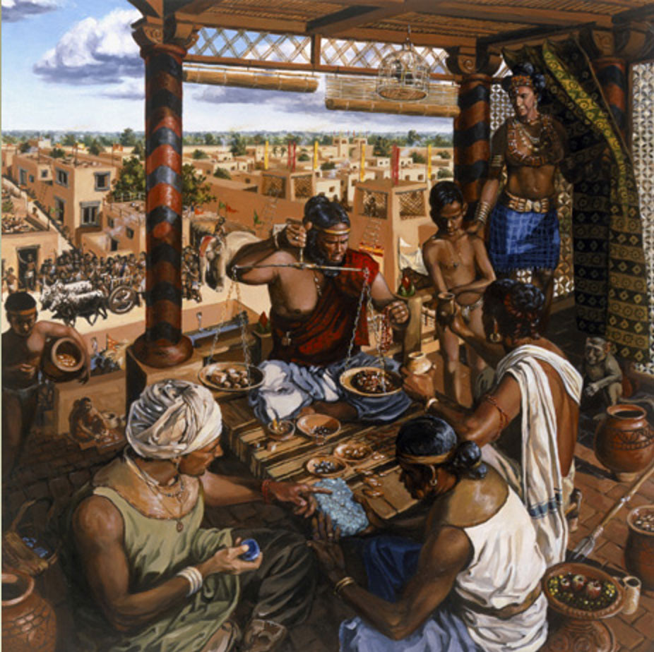 Scene of daily life in an Indus Valley city in the Bronze Age