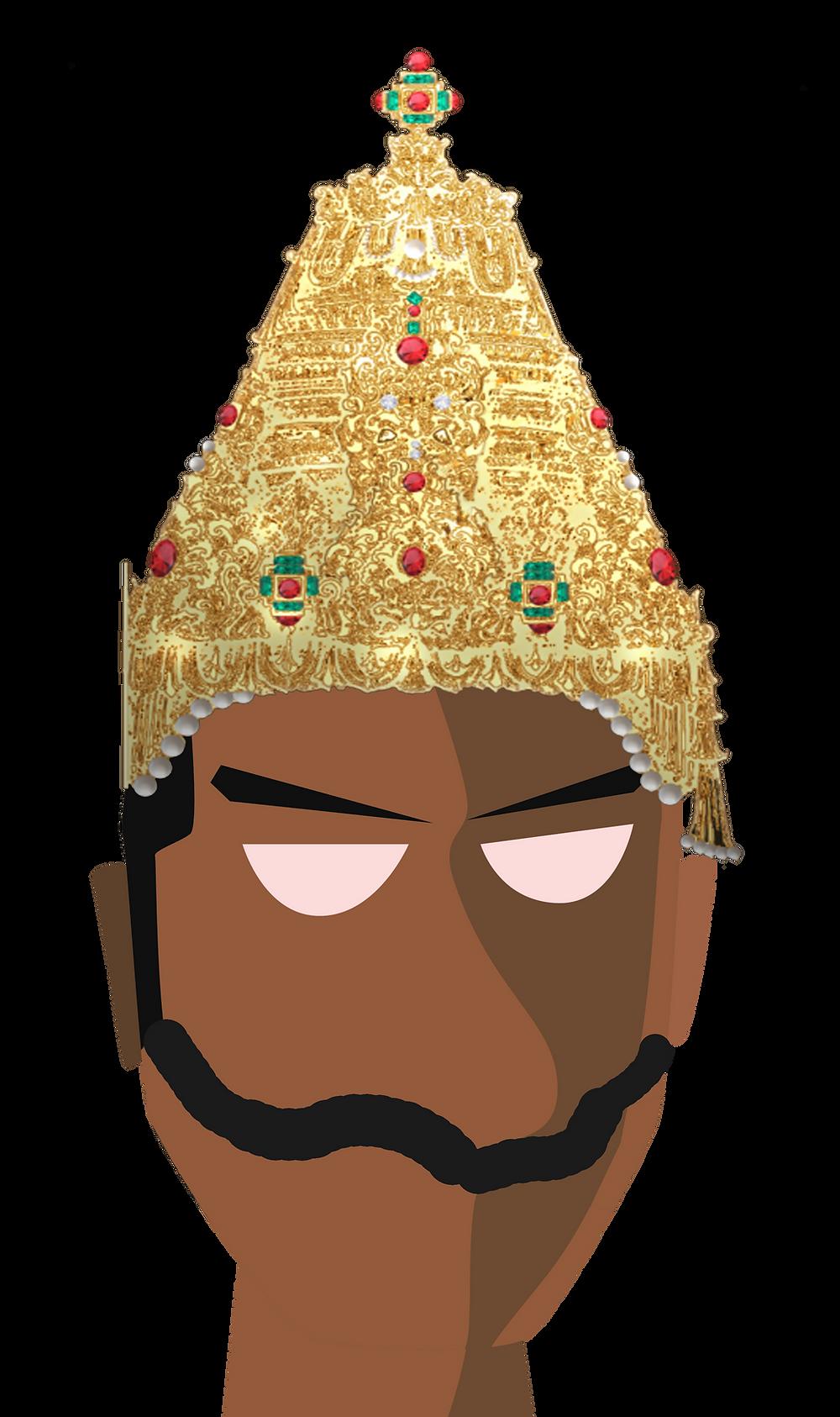 Vector portrait of the Rashtrakuta emperor Krisha III, by Arjunan Ullas based on art by Keshav Rajendran
