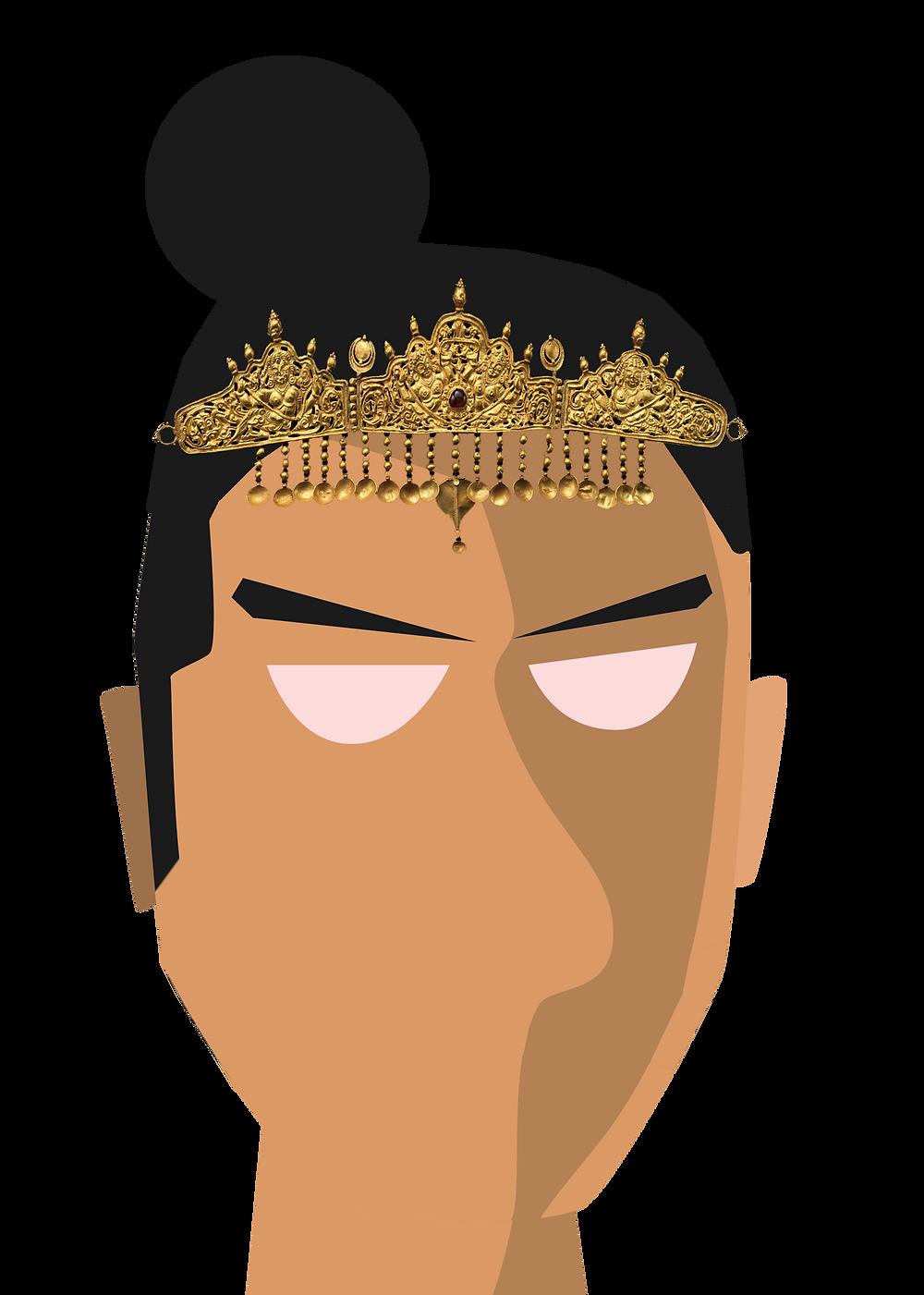 Vector portrait of the Ganga king Butuga II, by Arjunan Ullas based on art by Keshav Rajendran