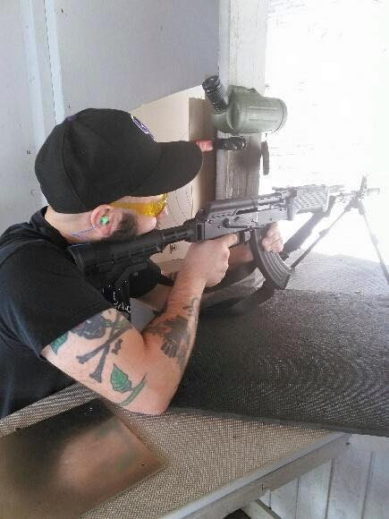 Dave Strano fires a WASR-10 at the range