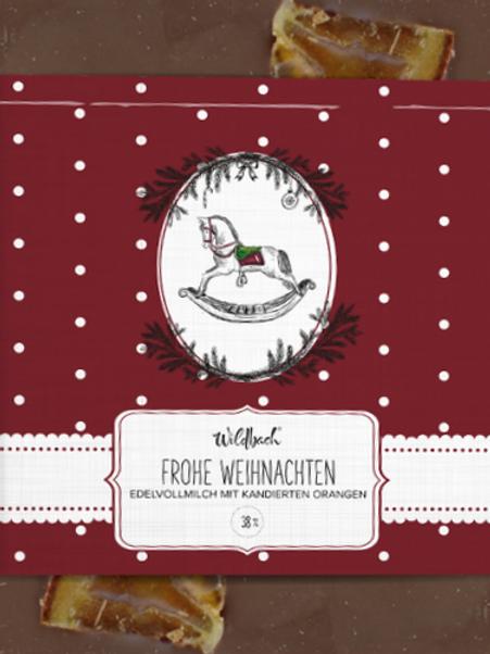 """Edelvollmilch Schokolade """"Frohe Weihnacht"""" mit kandierter Orange"""