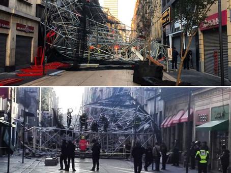 Dos heridos por desplome de un andamio en la calle de Madero del Centro Histórico de la CDMX