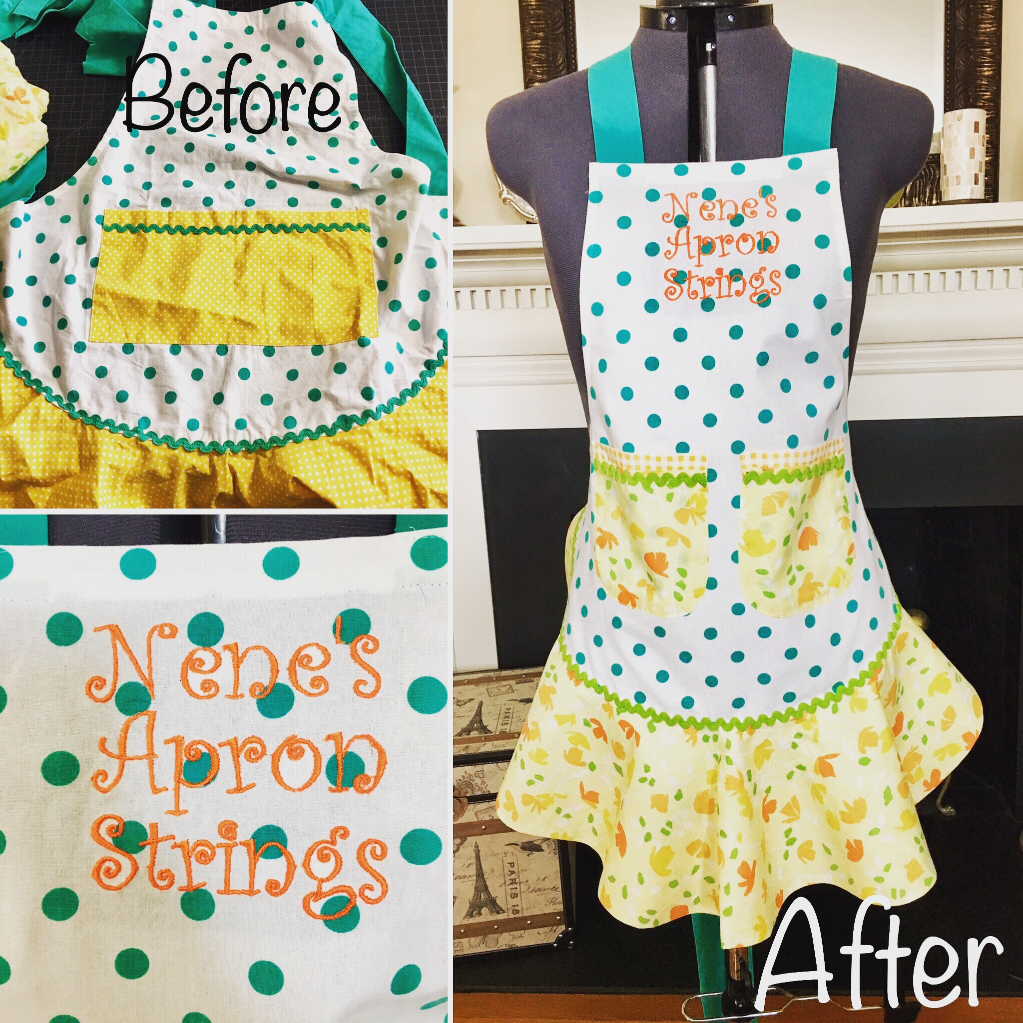 Handmade apron with Monogram
